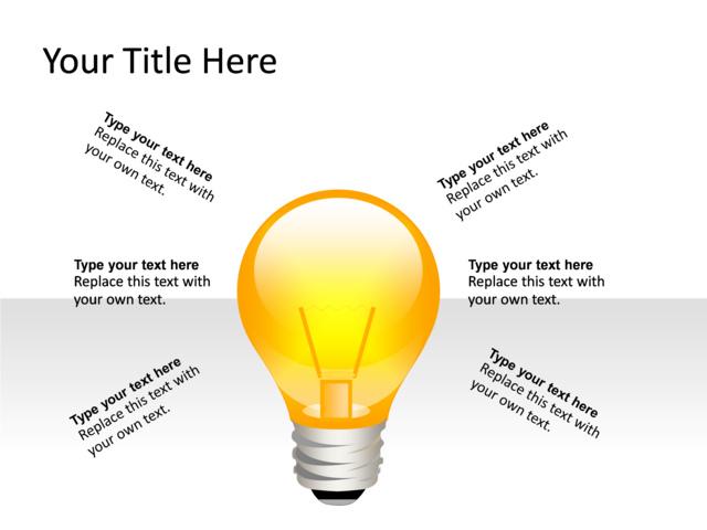 PowerPoint Slide - Light bulb Diagram - 3D - 1-Lightbulb - Yellow