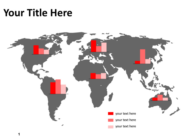 PowerPoint Slide - Map of the world - Gray - Graphs - PL92