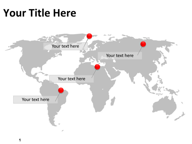 PowerPoint Slide - Map of the world - Gray - PL97 CrystalGraphics