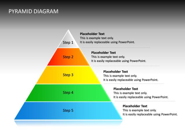 PowerPoint Slide - Pyramid Diagram - 3D - Multicolor - 5 Levels - cg