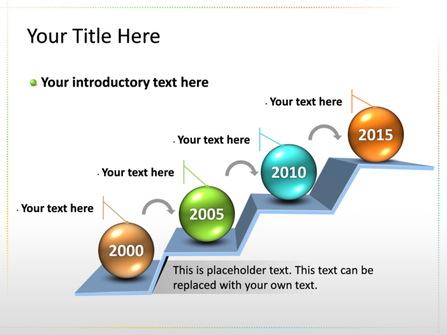 PowerPoint Slide - Timeline Diagram 3D - Multicolor - 4 timelines