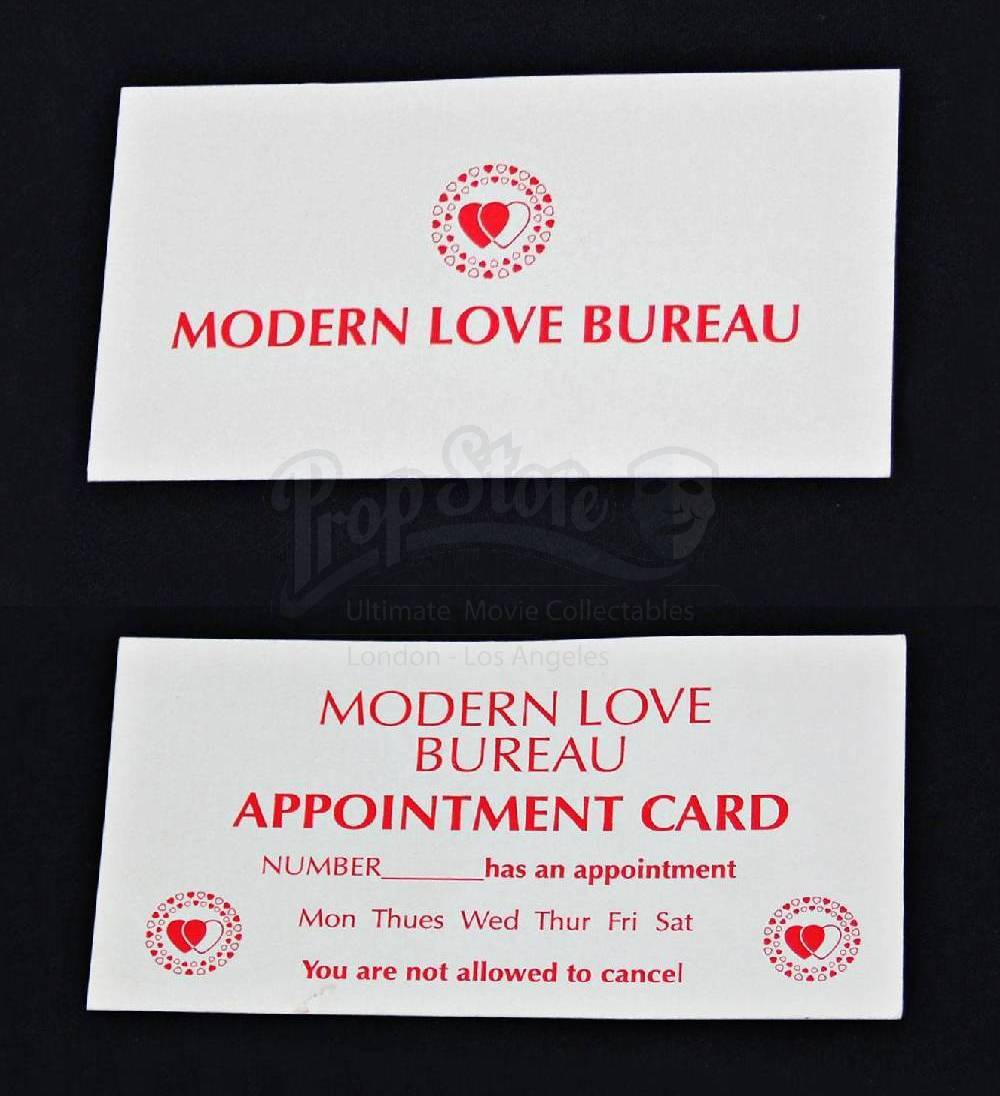 Modern Love Bureau Appointment Card Prop Store Ultimate Movie Collectables - Bureau Appoint