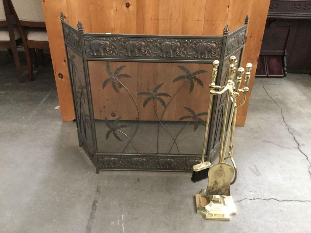 Brass Fireplace Screen Lot Bronzed African Elephant And Palm Tree Motif Fireplace Screen