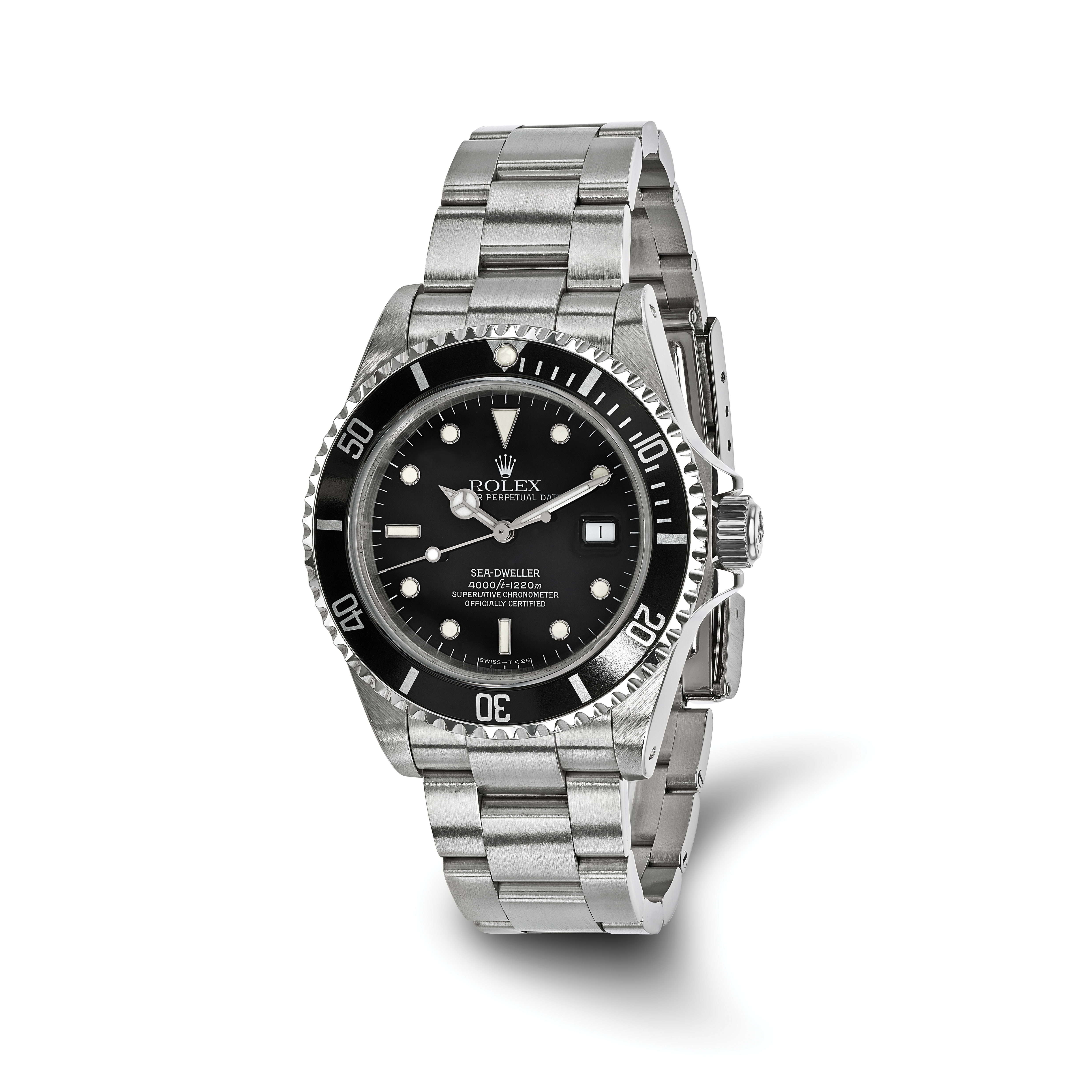 Stainless Rolex Pre Owned Rolex Stainless Steel Mens Sea Dweller Black Watch