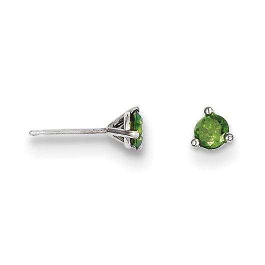 Green Diamond Stud Earrings Vintage 14 Karat White Gold
