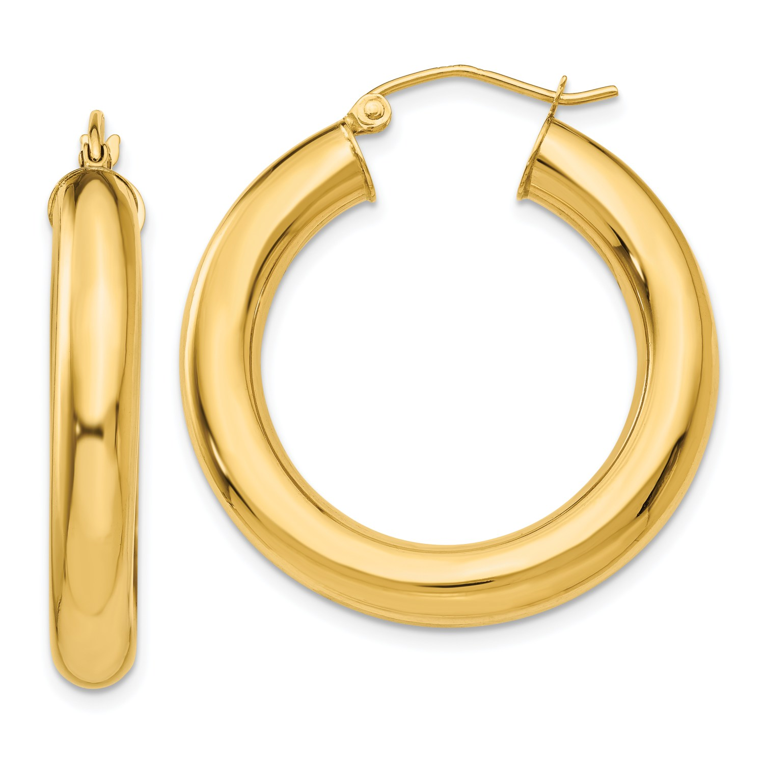 Gold Tube 14k Yellow Gold Polished 5mm Tube Hoop Earrings 30mm