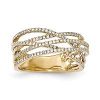 14k Yellow Gold Diamond Criss Cross Ring | eBay