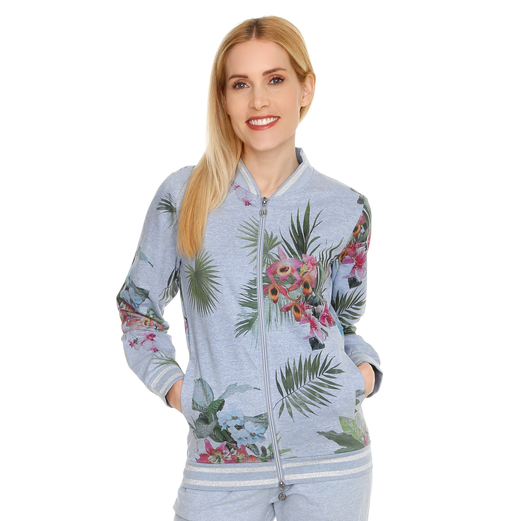 Barbara Becker Kollektion Barbara Becker Miami Fit Blouson Sweat Floraler Druck Glanzgarn Qvc De