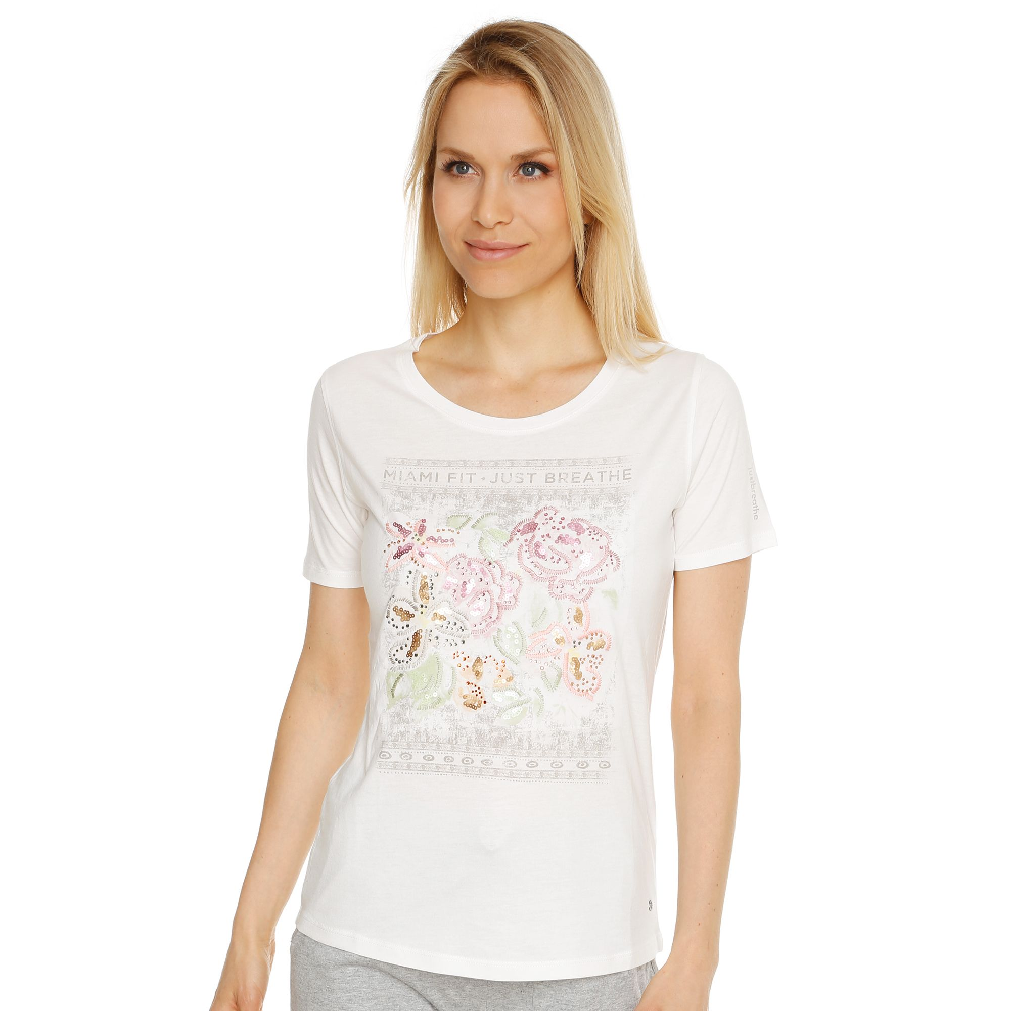 Barbara Becker Kollektion Barbara Becker Miami Fit Jerseyshirt 1 2 Arm Paillettendetail Qvc De