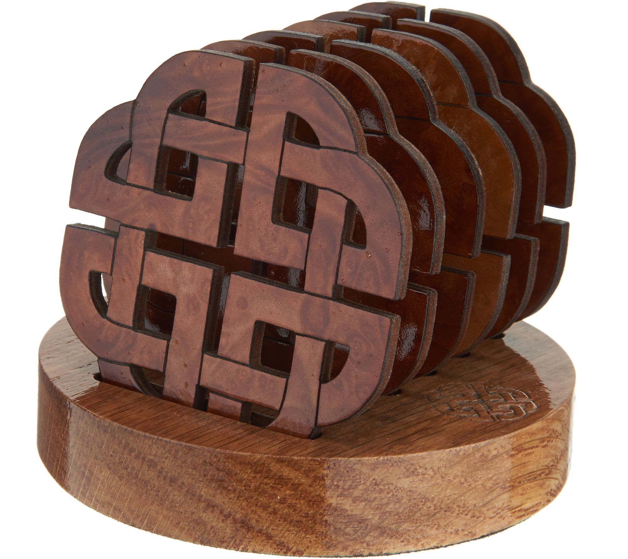 Wood Coaster Holder Monson Set Of 6 Wooden Coasters With Holder Page 1 Qvc