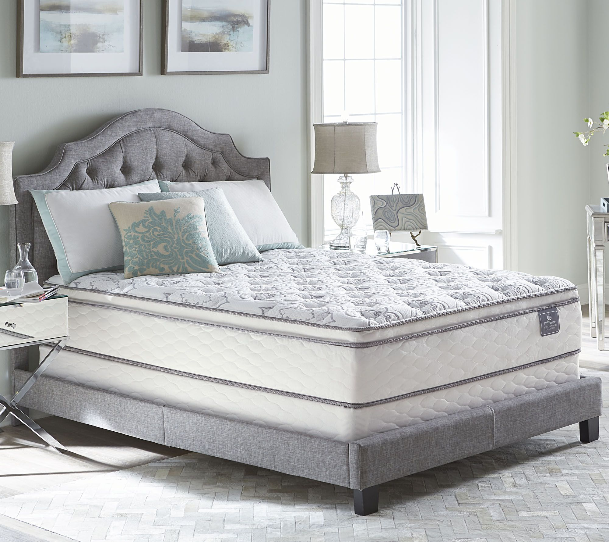 Serta Mattress Uk Serta Perfect Sleeper Cache Hotel Pillowtop Queen Mattress Set Qvc
