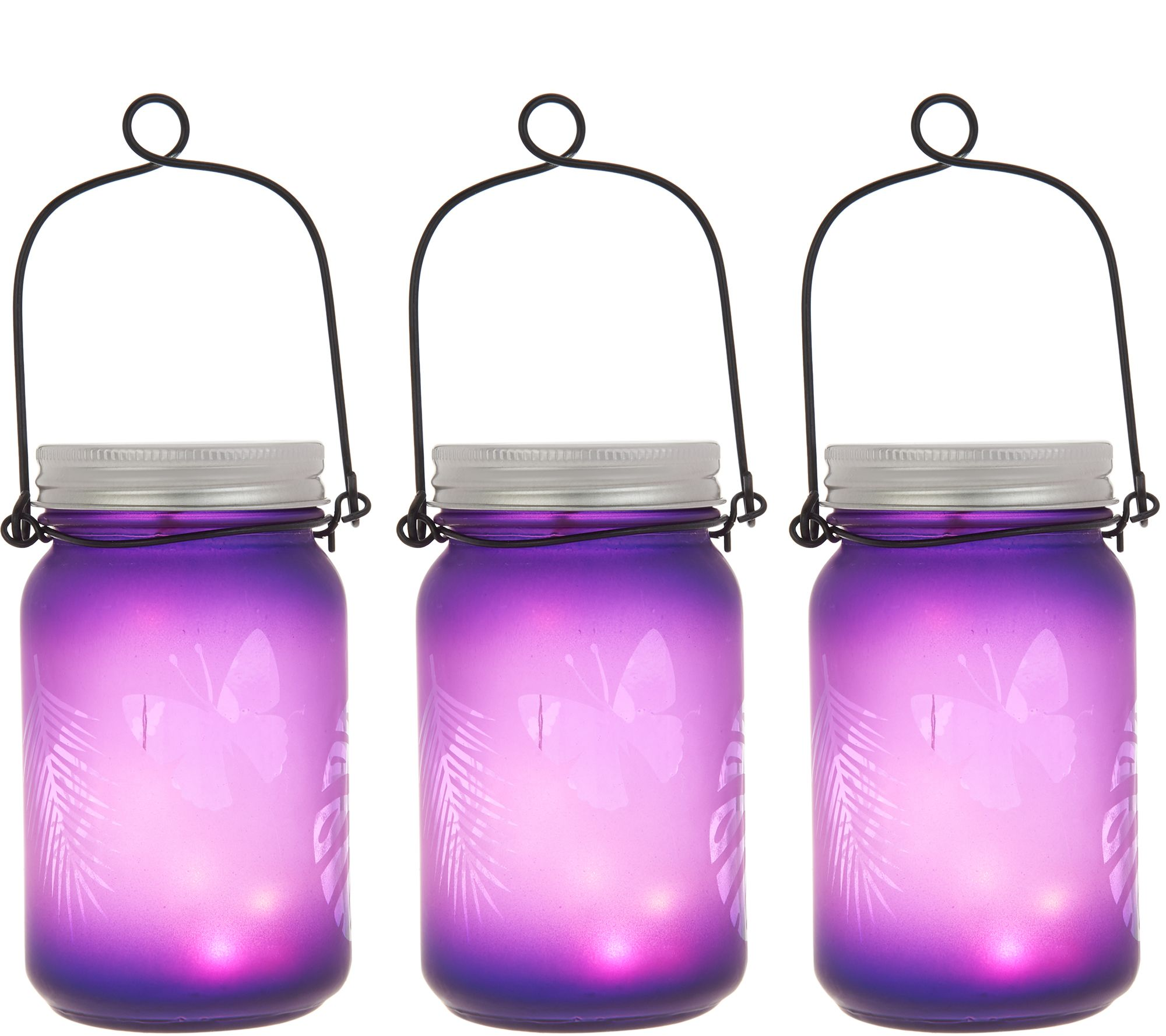 Qvc Masson Set Of 3 Illuminated Indoor Outdoor Mason Jars By Valerie