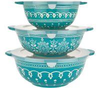 Cook's Essentials Savannah 3-pc Ceramic Bowls with Lids ...