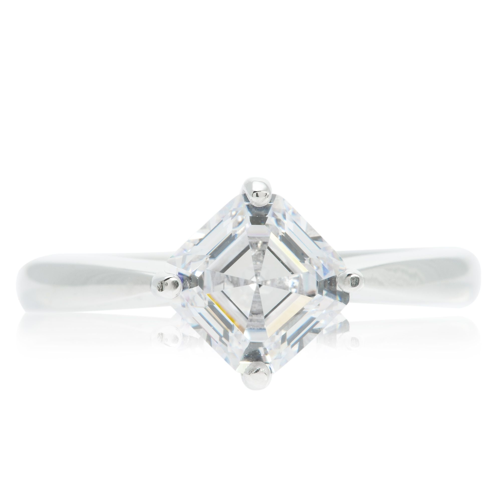 Qvc Stoneline Imagination Diamonique Anello Solitario Taglio Asscher Pari A 1 75ct