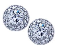 Diamonique Sterling Round Halo Stud Earrings  QVC.com