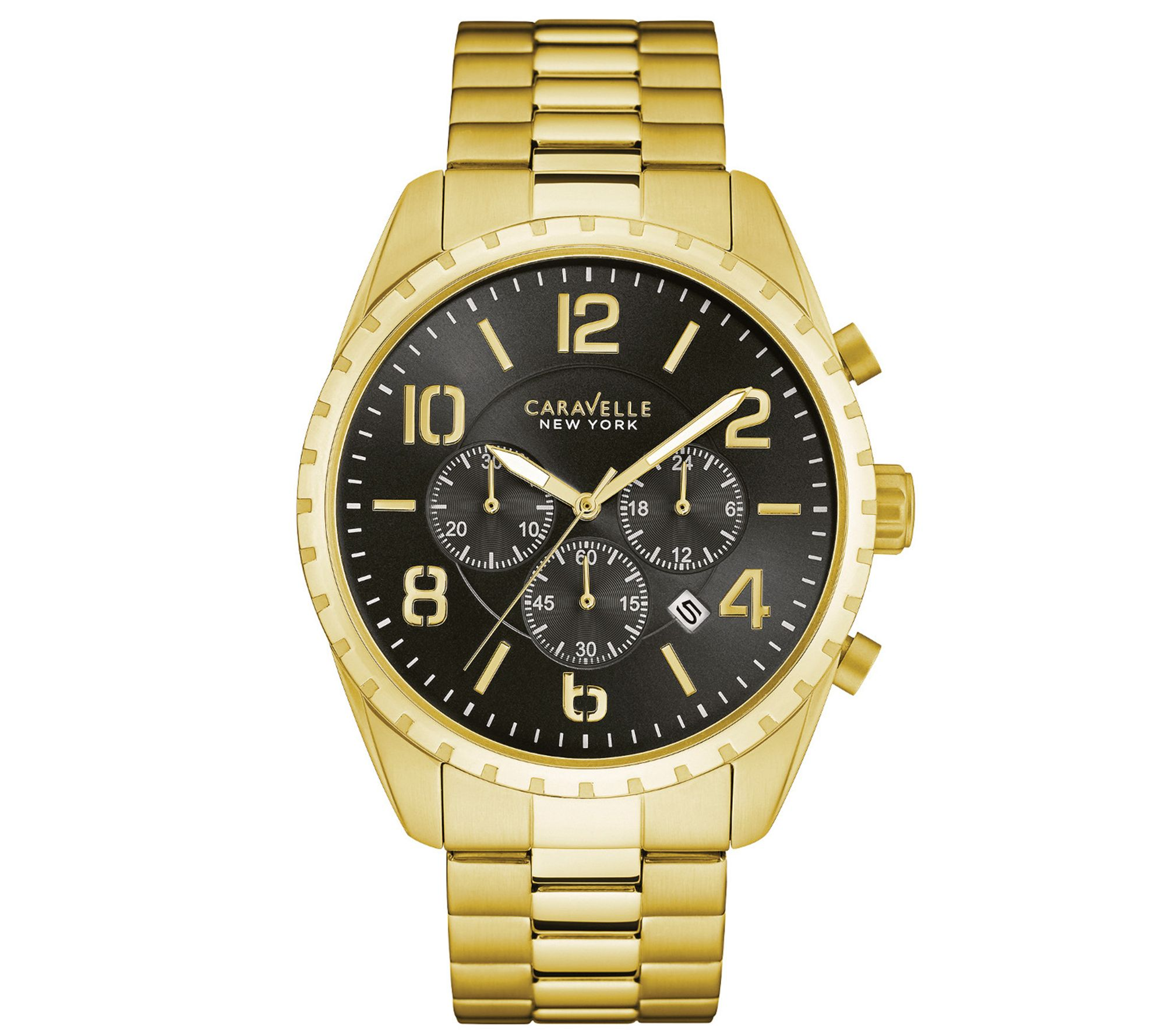 Qvc Bettwäsche Coravelle Caravelle New York Men 39s Goldtone Chronograph Watch Qvc