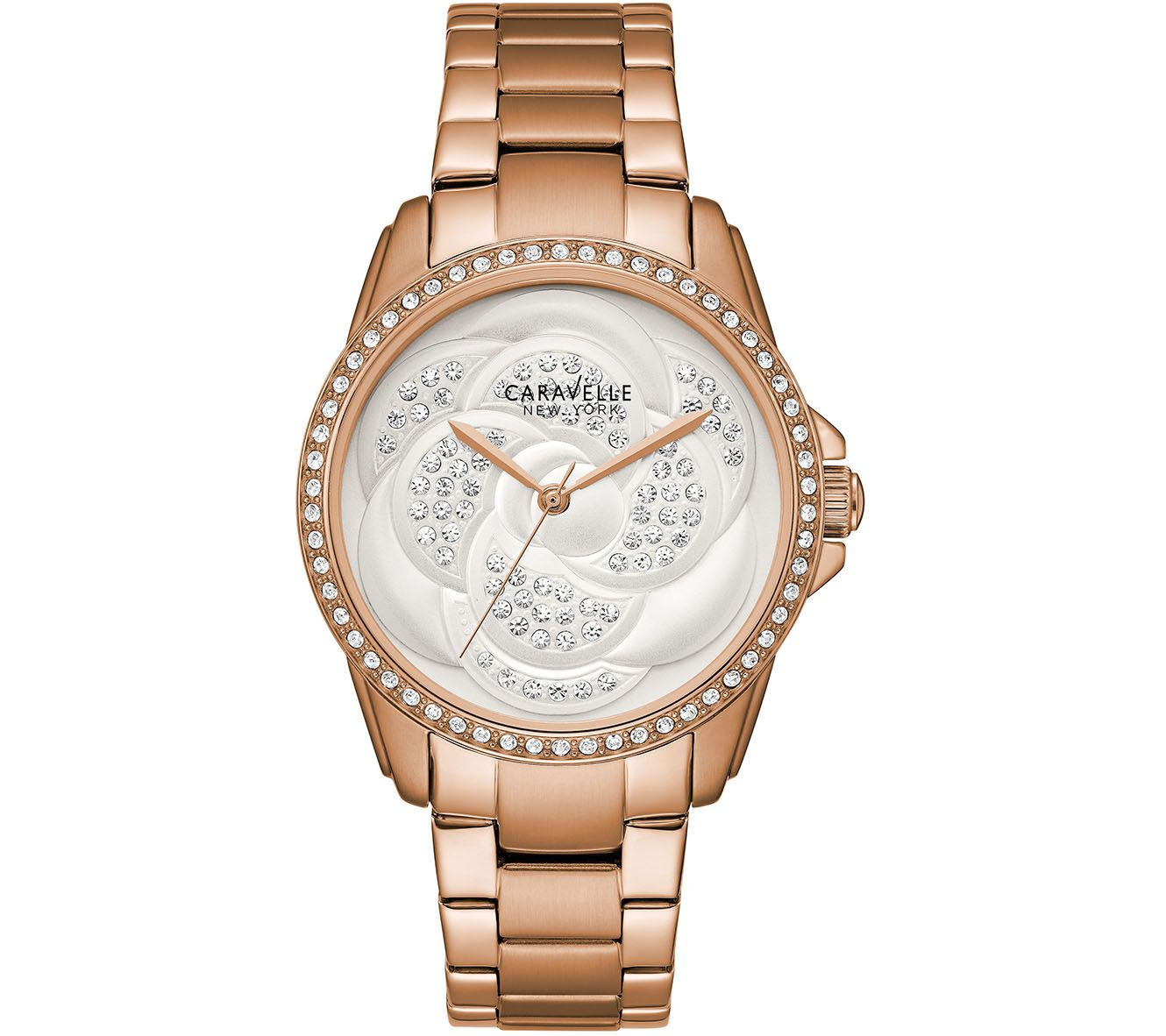 Qvc Bettwäsche Coravelle Caravelle New York Women 39s Rosetone Crystal Watch Qvc
