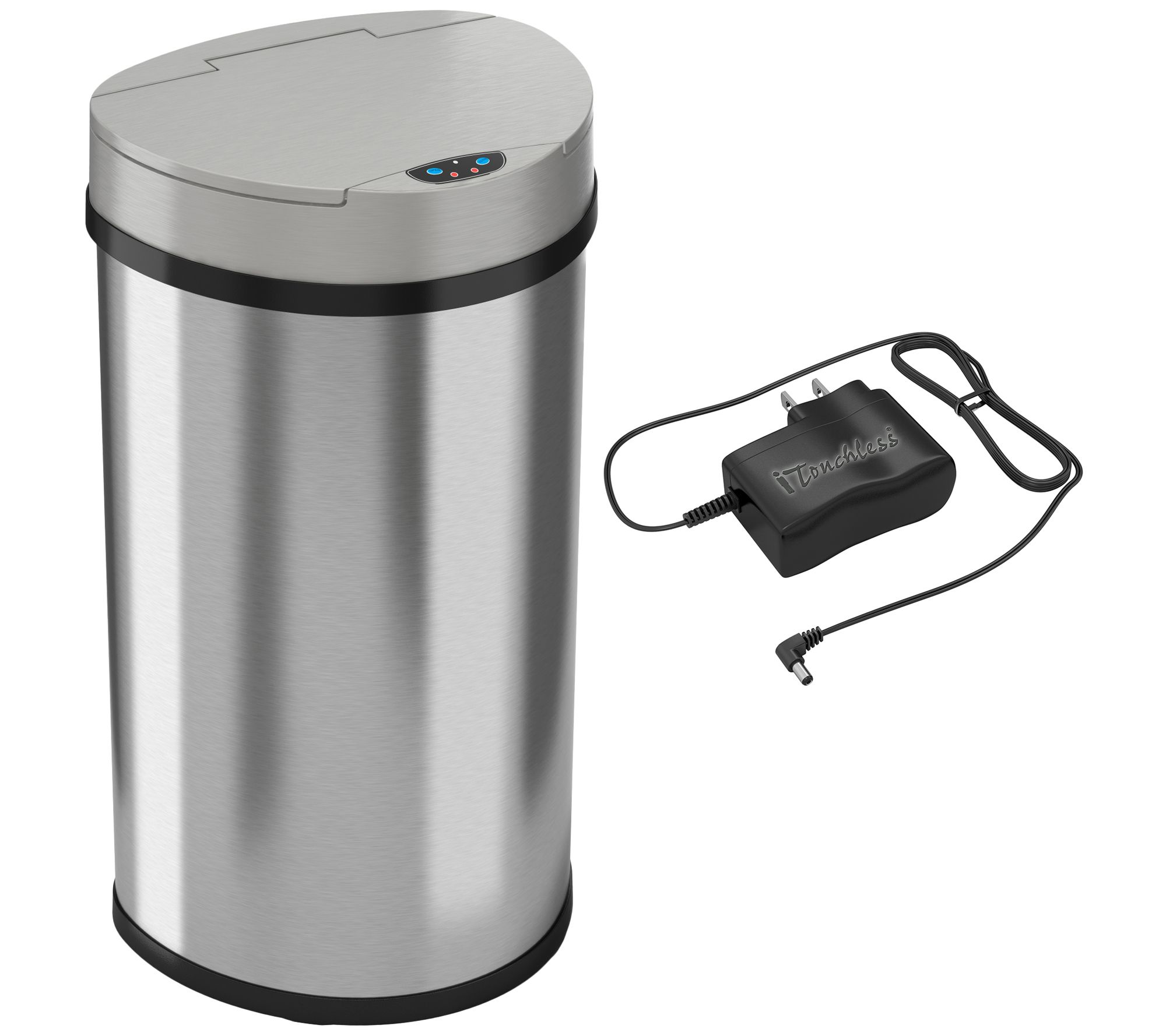 Stainless Steel Tall Kitchen Garbage Can Itouchless 13 Gallon Semi Round Trash Can Page 1 Qvc
