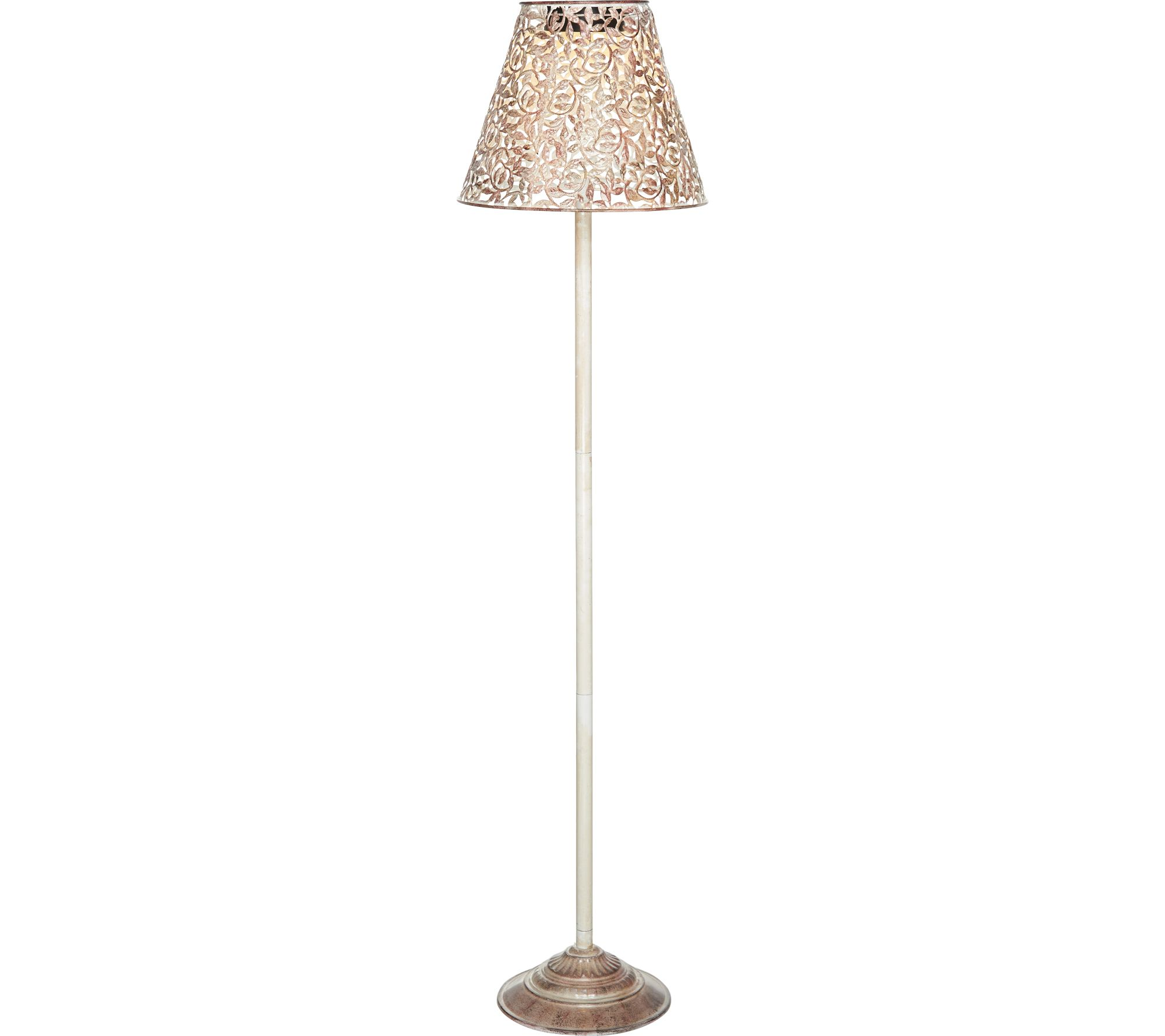 Led solar 2 in 1 filigree outdoor floor lamp by evergreen page 1 qvc com