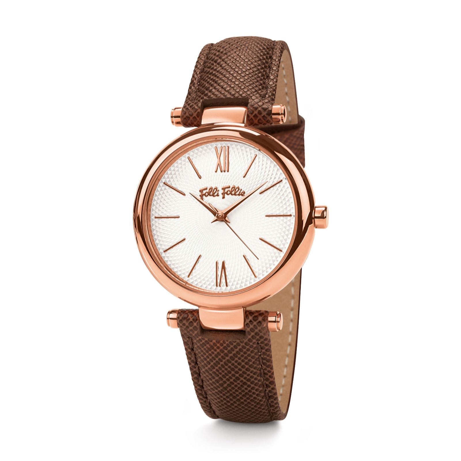 Leather Strap Rose Gold Watch Folli Follie Cyclos Rose Gold Brown Leather Strap Watch Qvc Uk