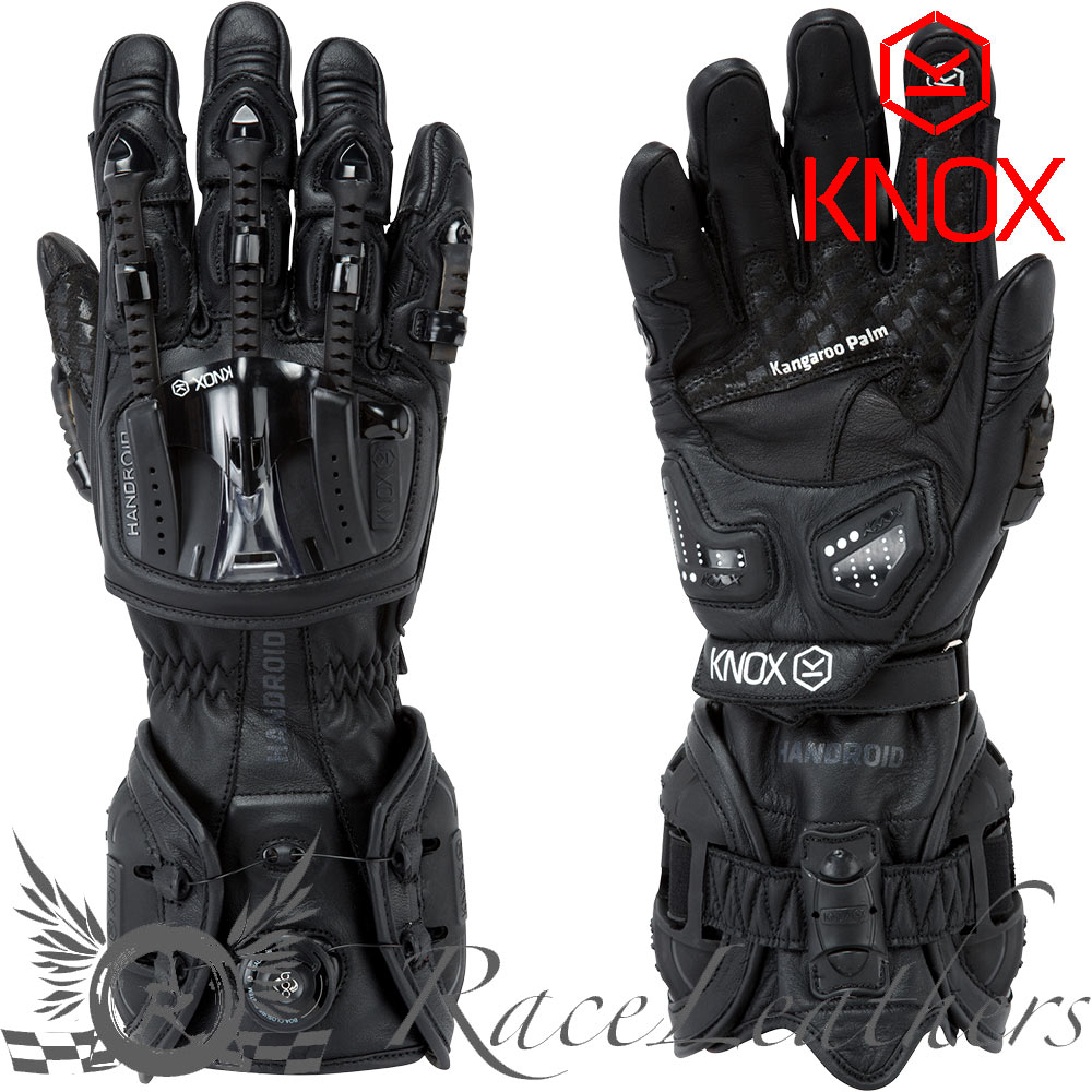 Knox handroid black hand armour exoskeleton kangaroo palm motorcycle gloves ebay