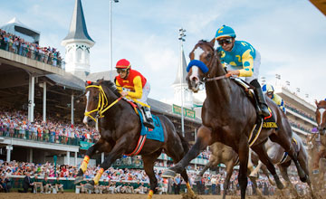 Bodemeister leads Trinniberg, and the field, under the wire for the first time in the Kentucky Derby at Churchill 5.05.2012