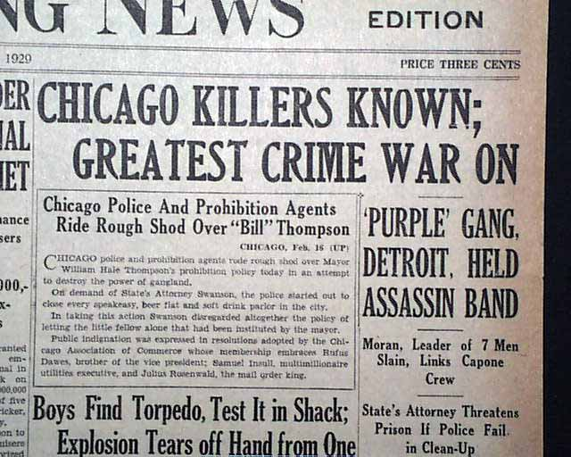 Chicago Killers Known; Greatest Crime War On Purple Gang, Detroit - newspaper