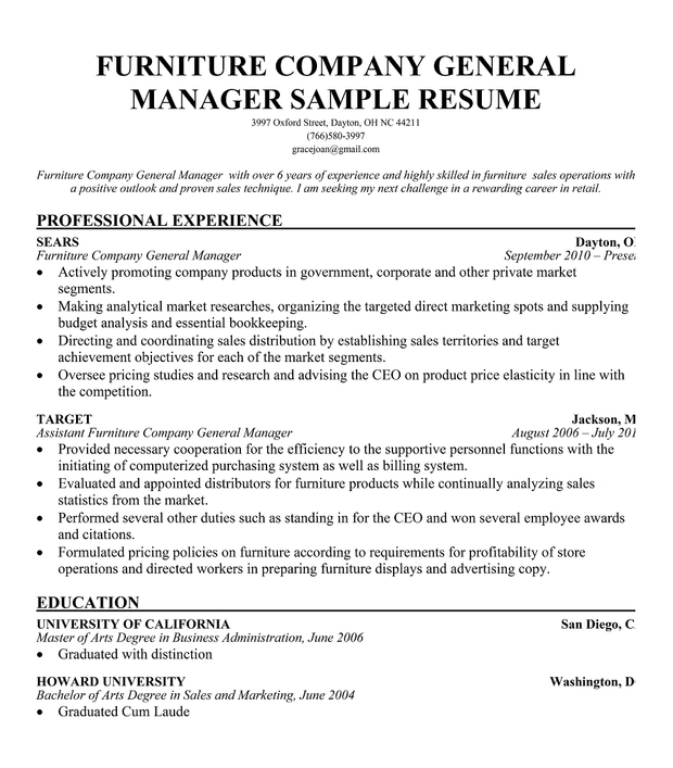 furniture sales resume - Ozilalmanoof - furniture company general manager resume