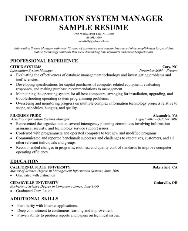 Computer Systems Manager Sample Resume Computer Information Systems