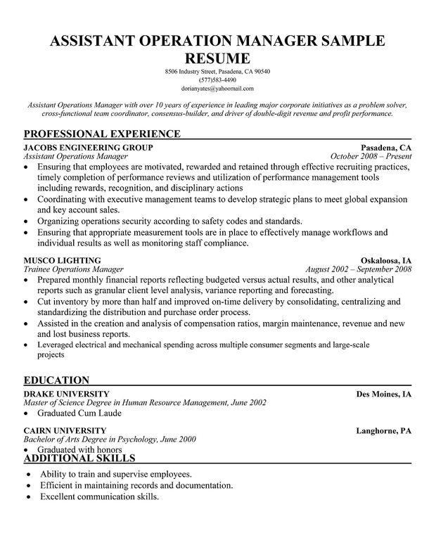 assistant operations manager. Resume Example. Resume CV Cover Letter