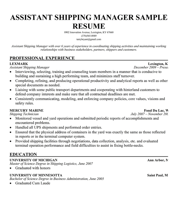cv assistant shipping manager