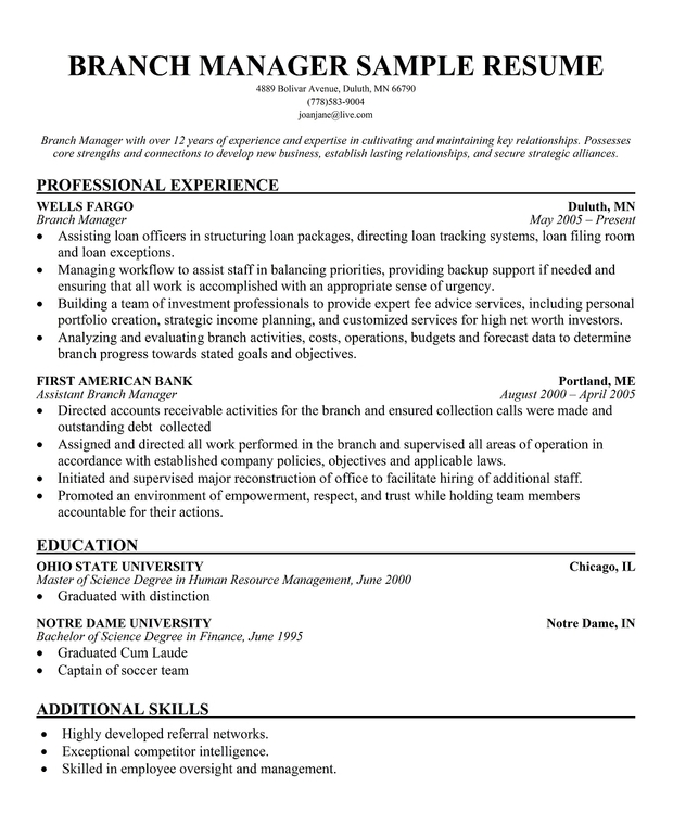 branch manager resume sle automotive account manager