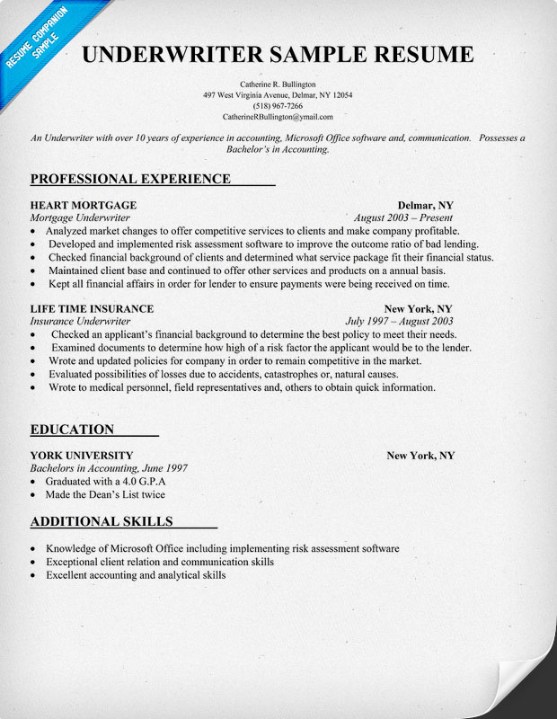 examples of underwriter resume insurance underwriter resume example commercial insurance underwriter resume sample - Underwriter Resume Sample