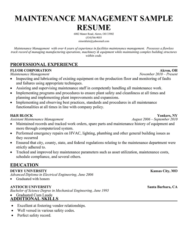 facilities maintenance manager resume sample facility maintenance manager resume sample best format facility manager resume maintenance