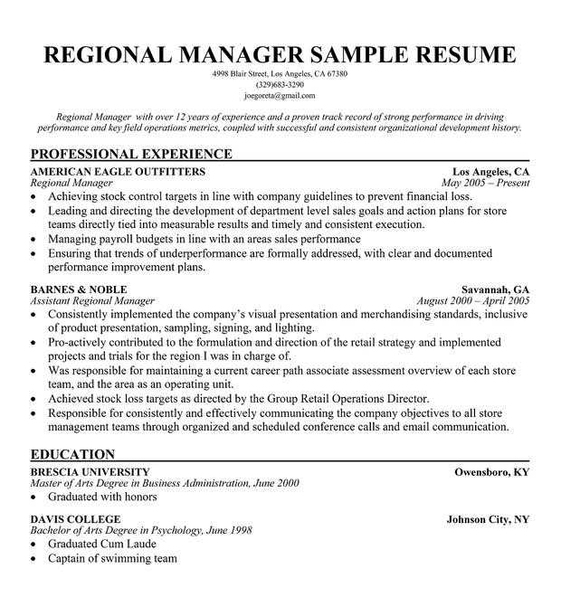sales manager objective for resume - Selol-ink - Retail Sales Manager Resume Samples