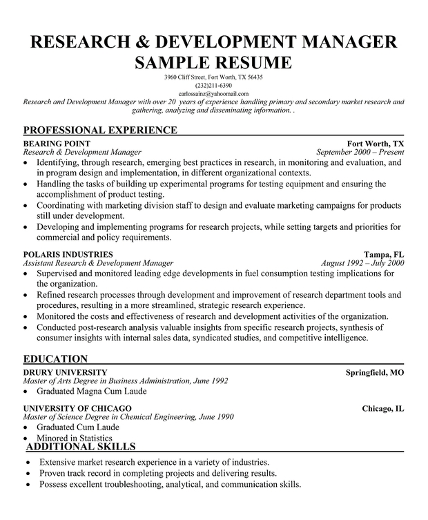 Sample Resume For Research And Development Manager - Professional