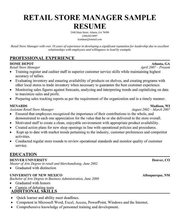 coffee shop store manager resume sample