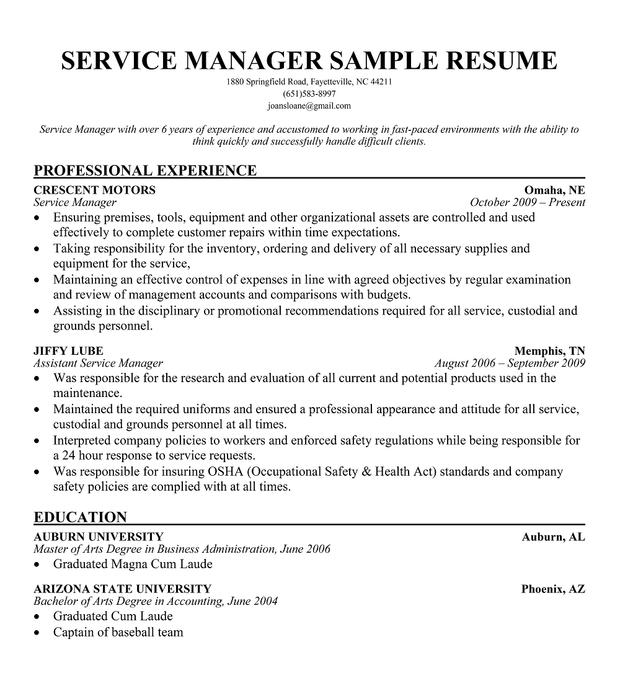 automotive service manager resume - Trisamoorddiner