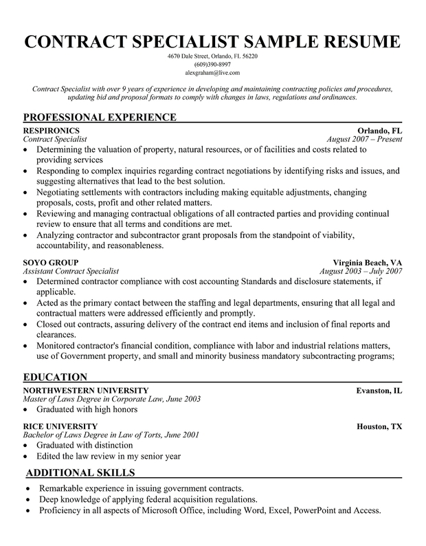 resume for contract specialist - Ozilalmanoof