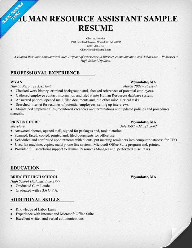 sample resume for human resource assistant - Akbagreenw