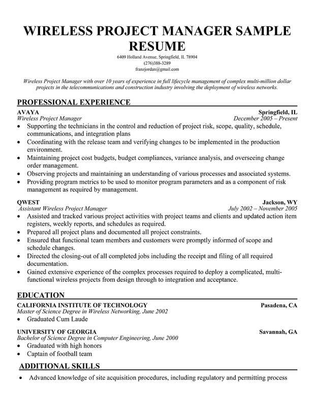 wireless project manager resume sample