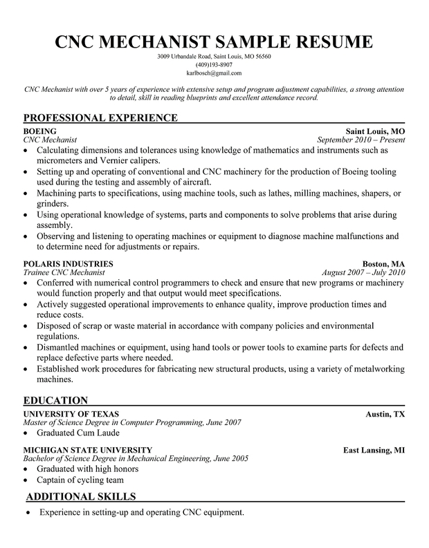 cnc machinist sample resumes - Funfpandroid - Sample Resume For Machinist