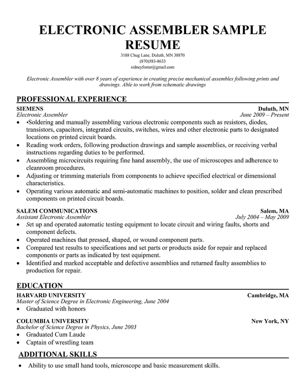 assembly line worker resume sample job description for assembly line worker template of electronicresumesample production assembly