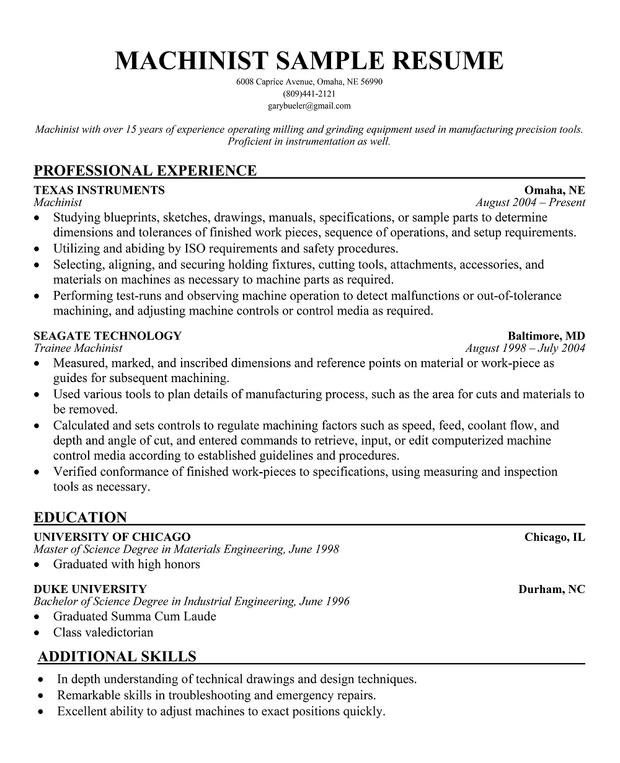 resume machinist resume full sample machinist resume for xml operator ...