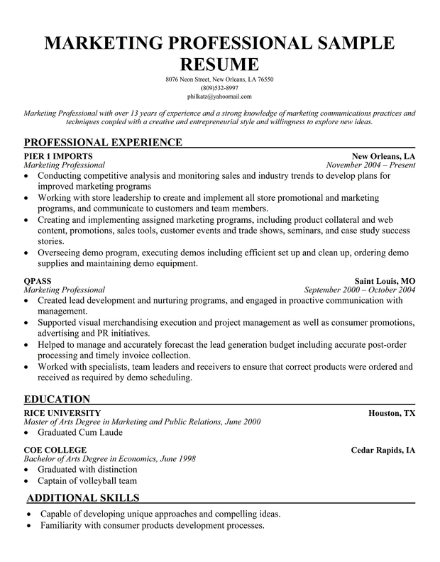 Resume For Internship In Marketing | Create Professional Resumes