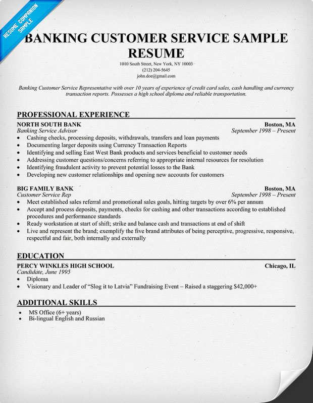 Sample Resume For Customer Service At Bank Resume Ixiplay Free