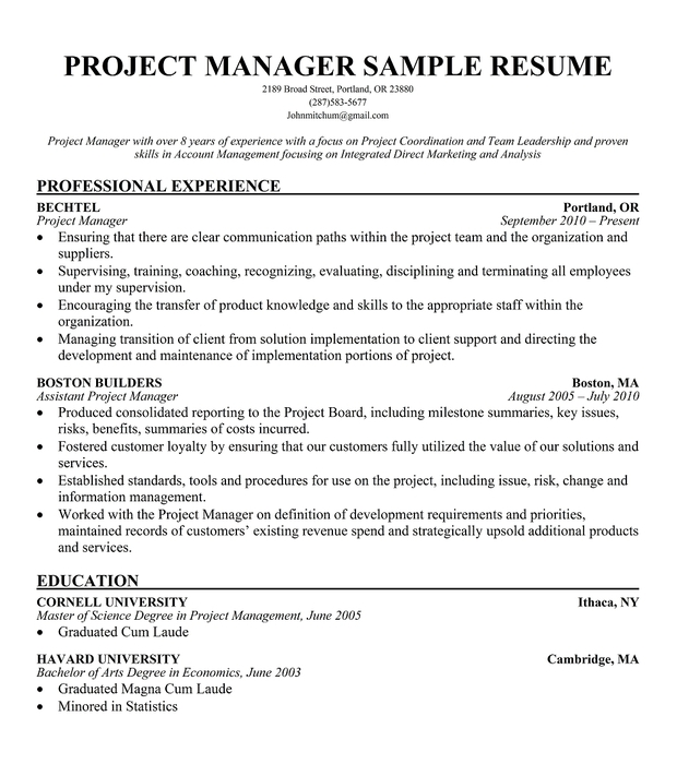 sample of a project management resume - Project Manager Sample Resume