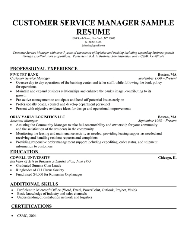 customer service manager resume customer service manager resume
