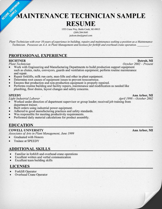 Cover Letter Maintenance Resumes Resume Design Maintenance Mechanic General  Technician Automotive Executiveapartment Maintenance Supervisor Resume Extra