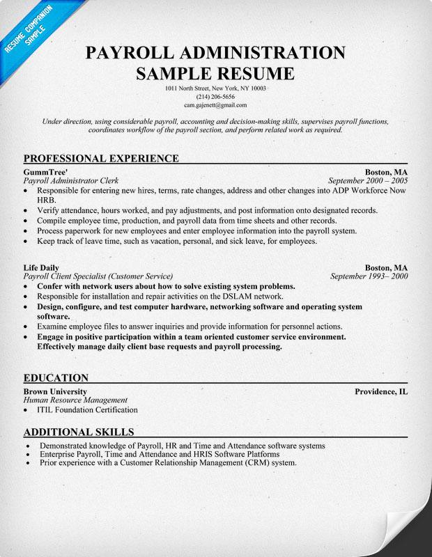 Payroll Clerk Resume Sample | Resume Pdf Download